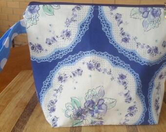 Medium Project Bag 'Indigo and Violet Flowers'