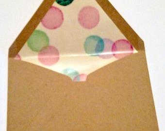 Polka Dot Lined Envelopes