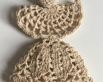 Crochet beige angel decoration