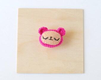 Magenta Bear Crochet Brooch   Handmade Crochet Pin, Handmade Brooch, Crochet Flair, Girlfriend Gift, Pin Collector, Yarn Pin, Yarn Brooch