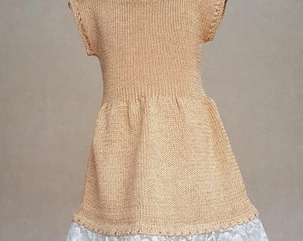Golden knitted dress, knit dress for little girl, crochet lace dress, knitted summer dress for girl