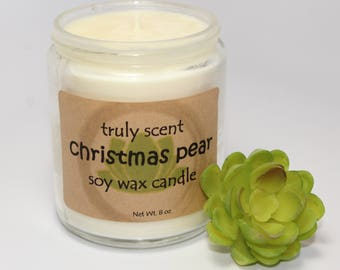 Truly Scent's Christmas Pear Soy Wax Candle- Clean Burning- Safe- Cotton Wick- Winter- Container Candle- Home Accent- Decor- Holiday Gift