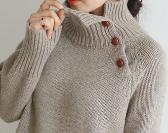 4Colors Wool Knit Sweater for Women /Wool Oversized Sweaters Womens /Knitwear Wool Sweater/ Knit Pullover Warm Sweater/ Knitted Sweater