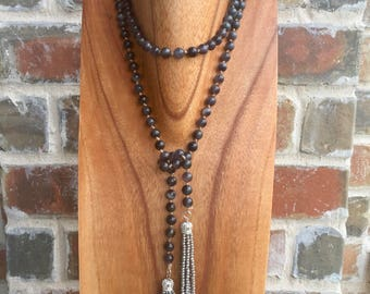 "The ""Charlotte"" 62"" Gray striped agate hand beaded lariat with matching gray crystal tassels"