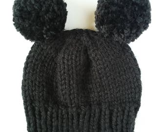 chunky black double pom hat, fitted black hat with pom, black pom pom hat, warm black hat, halloween beanie, chunky fitted hat, womens hat