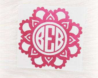 Flower Mandala Personalized  Monogram Vinyl Decal - Lilly Pulitzer Inspired