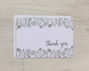 Thank You Card Set | Grey Sketched Floral - Set of 8