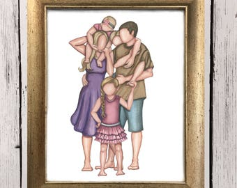 Family of Five (two daughters, one son)- customized family portrait- family art print- family of five- gift for mom- three kids - home decor