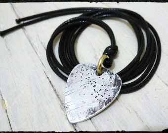 Men's necklace leather lanyard with pick in Allminio Relic Rock perfectly worked handmade