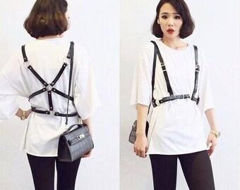 Leather women body belt   body harness   handmade harness genuine leather   women harness   chest harness
