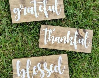 Grateful Thankful Blessed Sign, Grateful Sign, Blessed Sign, Thankful Sign