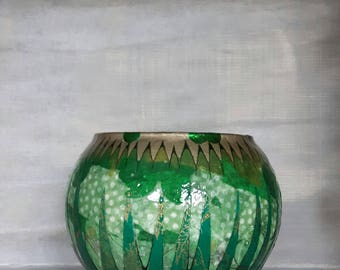 Decorative vase, unique vase, quirky vase, gold vase, green vase, hand decorated, glass vase, round vase, wedding vase, decoupage vase