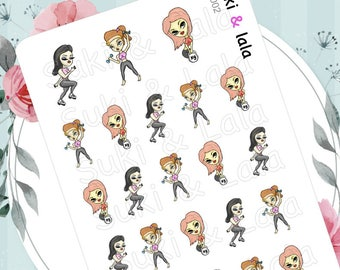 Workout Planner Stickers, Exercise Planner Stickers, Kettle bell Planner stickers, Running Planner Stickers, Lalas Dolls (LD002)
