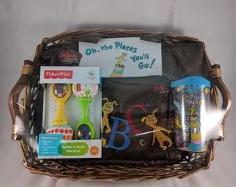 Dr. Seuss Gift Basket (Diaper Bag, Tervis Tumbler w/ Lid, Book, Rattles)