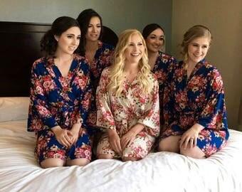 Sale! Set of 5  Cotton Bridesmaids Robes, Bridesmaid Robe, Bridesmaid Gift, Gift for Bridesmaid, Robe for Bridesmaid, Bridesmaid Robe,