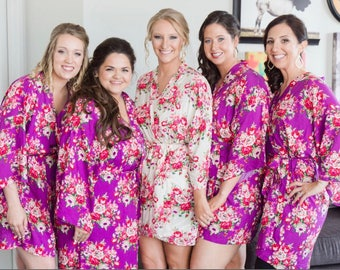 Bridesmaid Robes -Bridesmaid Gift - Floral Bridesmaid Robes -Wedding Robes -Bridal Robes -Kimono Robe - Getting Ready Robes