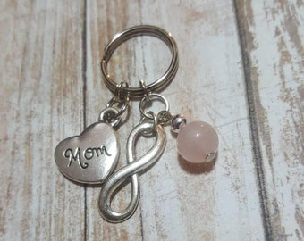 Mom Keychain - Infinity love - rose quartz - all love - valentines day - mothers day - Mother
