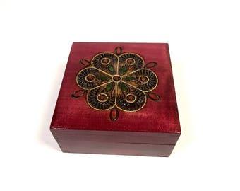 Wooden jewelry box, Burgundy trinket box, Keepsake box, Square jewelry box