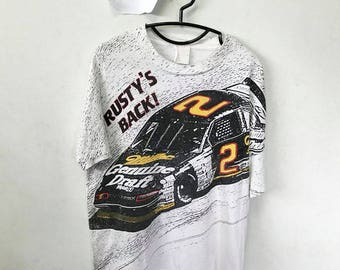 Vintage Rusty Wallace Shirt Size L Free Shipping 90s rusty wallace Nascar Supercar Car Racing
