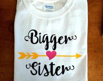 Bigger Sister Shirt - Personalized with Name - Matches Big Middle Little Sister Arrow Shirt Set
