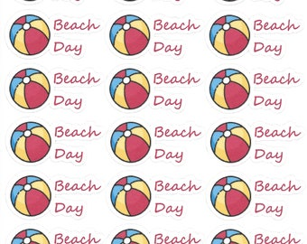 Beach Day Stickers - Beach Ball Stickers - Beach Ball - Beach Planner - Planner Stickers - Beach Ball Icon - Scrapbook Stickers