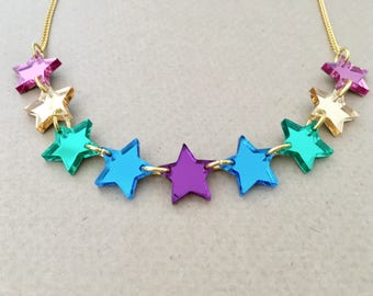 Star Bunting Acrylic Necklace In Rainbow Mirror