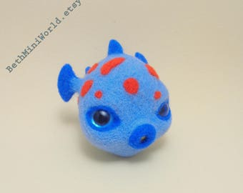 Needle felted Fish Miniature- Pufferfish- Pendant- Charm- Bag, Cell Phone, Purse, Necklace, Brooch,...-Gift- Ooak- Ready to Ship