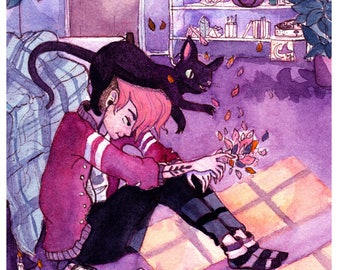 Witch Boy and His Cat Familiar. Watercolor illustration print.
