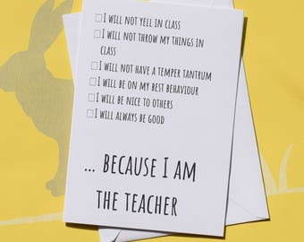 Funny school card, End of term card, Gift for teacher, Card for end of term, Thank you teacher, Teacher card, Card for teacher