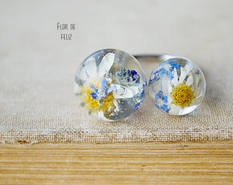 Terrarium ring, Ring with chamomile, Double ring, Real flower ring, Double shpere ring, Epoxy resin jewelry, Adjustable Ring, Forget-me-not
