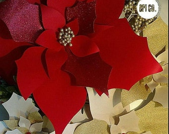 Poinsettia Paper flower Template