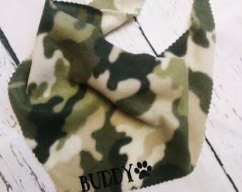 Personalized Camo Dog Bandana, Camouflage Bandanna, Name, Personalized Dog Bandana, Custom Dog Name