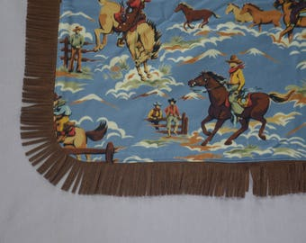 Adult Blanket, Western Retro Print, Flannel Country Cowboy Throw, Faux Suede Texas Rodeo Fringe