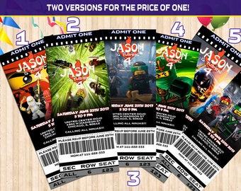Lego Ninjago Birthday Invitation ticket, Lego Movie Party Invitation, Lego Invite Cards, Digital File Printable or Printed Invitation