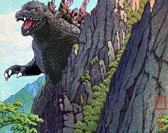 Godzilla Mountain Japanese Woodblock Print