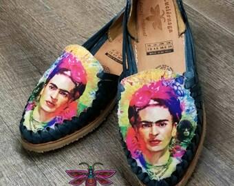 Women's Denim Blue leather sandals. Mexican huarache sandals.