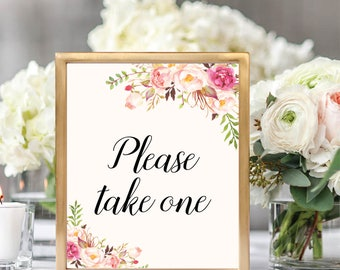 Please Take One, Favors Wedding Sign, Favor Sign Printable, Wedding Favor Sign Printable, Printable Wedding Sign, Floral Wedding, #B512