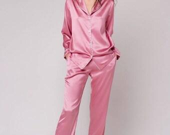 Silk pajama set Long silk pajamas Luxury sleepwear Silk loungewear Rose pink pajama Perfect gift for wife Gift for women