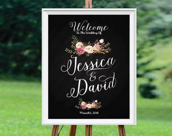 Bohemian wedding sign, Wedding Welcome Sign, wedding chalkboard sign, Rustic Wedding Decor, Wedding sign - US_WS0111c