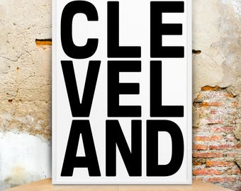 Cleveland, Prints, Cleveland Wall Art, Cleveland Gift, City Poster, Travel Decor, Wall Art, Ohio Wall Art, Cleveland Ohio Art, Cleveland Art
