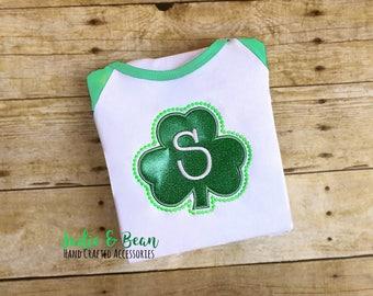 Glitter St. Patrick's Day Shirt, St. Patrick's Day Shirt, Monogrammed St. Patricks Day Shirt, Shamrock Shirt, St Patricks Outfit, Kids, baby