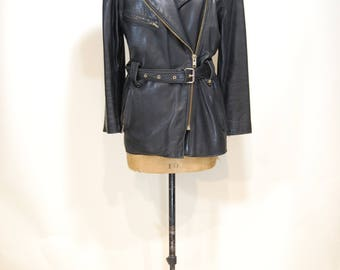 Amazing vintage 80s leather jacket, size med.
