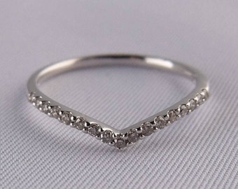 10K White Gold Curved Half Eternity Dia Ring