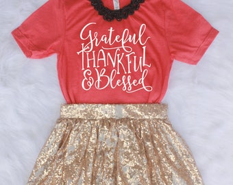 Grateful Thankful Blessed Shirt // Fall Shirt // Thanksgiving Top // Holiday Shirt