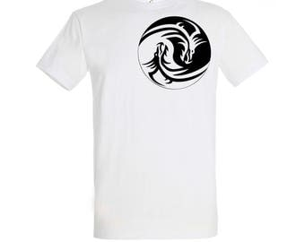 Super Size Cotton Tshirt upto 5XL with Awesome Yin Yang Dragons Screen Printed in Crisp Black Ink