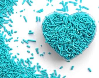 Turquoise Blue Crunchy Jimmies™, crunchy sprinkles, skinny sprinkles,sugar strands,canadian sprinkles, turquoise sprinkles, Fancy Sprinkles
