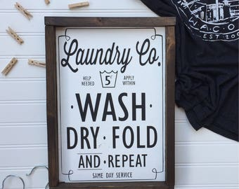 Laundry Co Wood Sign | Laundry Room Sign | Laundry Room Decor | Farmhouse Decor | Laundry Room Sign |  Wash Dry Fold Repeat Sign | Wood Sign