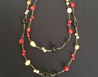 Long Tagua Statement Necklace / Tagua Jewelry / Tagua Necklace / Statement Necklace / Tagua Nut Jewelry