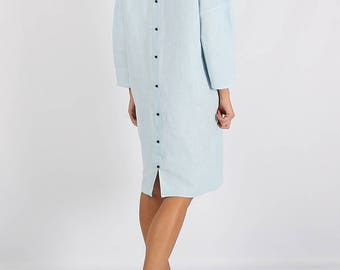 Loose fitting linen dress, Light-blue Linen dress, Dress with buttons, Minimal linen dress, Linen tunic, Stone washed, Linen clothes