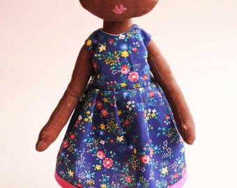 handmade doll,  cloth doll, rag doll, peach, gift for a girl, dolls, personalised doll, birthday gift